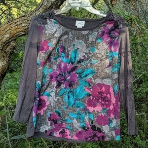 Flower and lace top